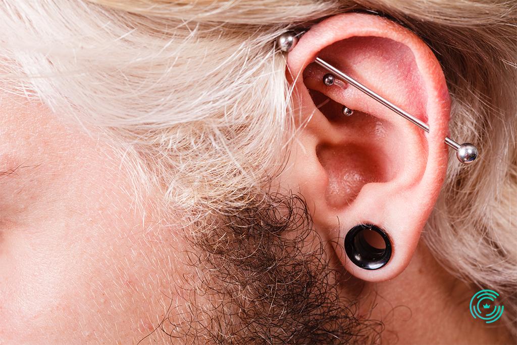 Piercing in the man ear