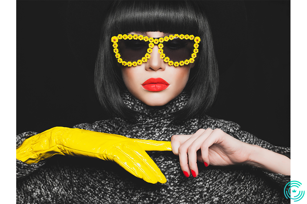 stylish lady in gloves and sunglasses