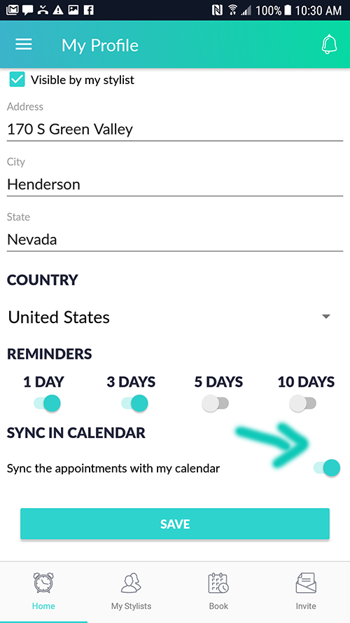 Preview of how to sync the appointments with my calendar on Android